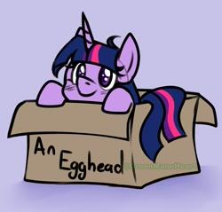 Size: 940x900 | Tagged: safe, artist:greenmaneheart, twilight sparkle, pony, blushing, box, cute, egghead, pony in a box, smiling, solo, twiabetes