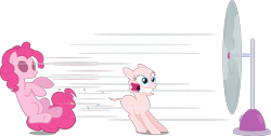 Size: 3587x1810 | Tagged: safe, artist:discorded, artist:mehoep, artist:regolithx, edit, editor:slayerbvc, vector edit, pinkie pie, earth pony, bald, cartoon physics, cutie mark, fan, female, furless, furless edit, mare, pinkie being pinkie, pinkie physics, pinkie pie suit, ponysuit, shaved tail, simple background, solo, speed lines, transparent background, vector, wardrobe malfunction