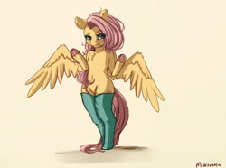 Size: 3800x2828   Tagged: safe, artist:miokomata, fluttershy, pegasus, semi-anthro, blushing, chest fluff, clothes, colored hooves, cute, female, freckles, freckleshy, frog (hoof), lidded eyes, mare, shyabetes, simple background, solo, spread wings, stockings, thigh highs, underhoof, wings, yellow background