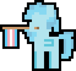 Size: 1000x935   Tagged: safe, artist:switcharoo, oc, oc only, oc:ice cube, pegasus, pony, female, flag, holding a flag, mare, mouth hold, pegasus oc, pixel art, pixl pony, pride, pride flag, simple background, transgender, transgender pride flag, transparent background
