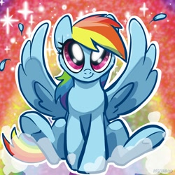 Size: 2048x2048 | Tagged: safe, artist:pfeffaroo, part of a set, rainbow dash, pegasus, pony, abstract background, cute, dashabetes, female, full face view, glitter, high res, looking at you, mare, outline, sitting, smiling, solo, sparkles, spread wings, white outline, wings