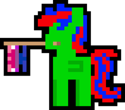 Size: 1000x879 | Tagged: safe, artist:switcharoo, oc, oc only, oc:gojipie, pegasus, pony, bisexual pride flag, flag, genderfluid, genderfluid pride flag, holding a flag, mouth hold, pegasus oc, pixel art, pixl pony, pride, pride flag, simple background, transparent background