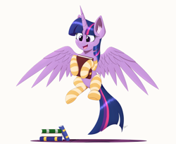 Size: 4044x3306 | Tagged: safe, artist:arcane-thunder, twilight sparkle, alicorn, pony, book, bookhorse, clothes, cute, ear fluff, excited, female, flying, high res, mare, open mouth, signature, simple background, smiling, socks, solo, spread wings, striped socks, that pony sure does love books, twiabetes, twilight sparkle (alicorn), white background, wings