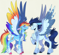 Size: 1768x1624 | Tagged: safe, artist:wanderingpegasus, rainbow dash, soarin', pegasus, pony, alternate hairstyle, blaze (coat marking), chest fluff, coat markings, colored hooves, colored wings, duo, ear fluff, facial markings, facing each other, feathered fetlocks, female, freckles, grin, leg fluff, looking at each other, male, mare, markings, multicolored wings, pale belly, rainbow wings, redesign, scrunchy face, simple background, smiling, snip (coat marking), socks (coat markings), spread wings, stallion, standing, tail feathers, two toned wings, unshorn fetlocks, wings, yellow background