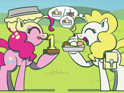 Size: 1800x1350 | Tagged: safe, artist:flutterluv, pinkie pie, surprise, earth pony, pony, atg 2021, bag, duo, food, ice cream, newbie artist training grounds, pie, pied, saddle bag, smiling, speech bubble, thought bubble, tongue out, trophy