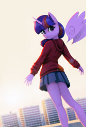 Size: 1500x2224 | Tagged: safe, artist:mrscroup, twilight sparkle, alicorn, anthro, blushing, clothes, floating wings, hoodie, looking at you, looking back, looking back at you, palindrome get, skirt, skyscraper, twilight sparkle (alicorn), wings