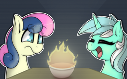 Size: 1321x822 | Tagged: safe, artist:llametsul, bon bon, lyra heartstrings, sweetie drops, earth pony, pony, unicorn, atg 2021, bowl, closed mouth, confused, couple, eye clipping through hair, eyebrows, eyebrows visible through hair, eyes closed, female, fire, glow, happy, lesbian, lyrabon, mare, newbie artist training grounds, open mouth, open smile, scared, shipping, simple background, smiling