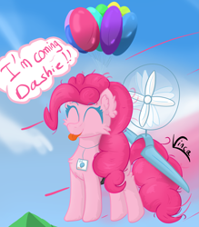 Size: 2843x3245   Tagged: safe, artist:vinca, pinkie pie, earth pony, pony, :p, balloon, cloud, cute, diapinkes, eyes closed, fan, female, floating, flying, implied rainbow dash, mare, smiling, solo, then watch her balloons lift her up to the sky, tongue out