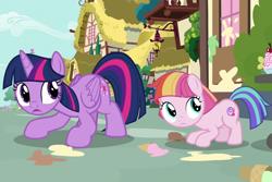 Size: 1080x720 | Tagged: safe, screencap, toola roola, twilight sparkle, alicorn, earth pony, pony, fame and misfortune, season 7, female, filly, mare, twilight sparkle (alicorn)