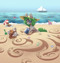 Size: 1508x1576   Tagged: safe, artist:28gooddays, oc, oc only, oc:radan, oc:twisted gears, earth pony, pony, beach, buried in sand, eyepatch, hat
