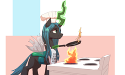 Size: 4782x2876   Tagged: safe, artist:vanillaghosties, queen chrysalis, changeling, changeling queen, apron, atg 2021, chef's hat, clothes, cooking, female, fortnite, frying pan, hat, high res, newbie artist training grounds, solo, stove