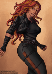 Size: 2480x3508 | Tagged: safe, artist:nire, sunset shimmer, equestria girls, belts, breasts, busty sunset shimmer, clothes, female, gauntlet, jacket, leather jacket, looking at you, pants, shirt, solo