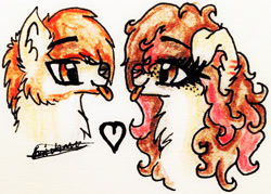 Size: 2249x1609 | Tagged: safe, artist:beamybutt, oc, oc only, earth pony, pony, wolf, :p, bust, chest fluff, duo, ear fluff, earth pony oc, eyelashes, female, heart, mare, signature, tongue out, traditional art