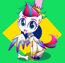 Size: 3120x3000   Tagged: safe, artist:ce2438, pipp petals, zipp storm, pegasus, pony, g5, abstract background, adorazipp, behaving like a dog, bone, brazil, collar, colored wings, cute, female, flag, high res, jingle bells, looking at you, mare, multicolored wings, rubbing, sitting, solo focus, tail wag, tongue out, unshorn fetlocks, wings, wristband