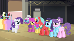 Size: 1280x720   Tagged: safe, screencap, blue nile, pursey pink, rarity, spaceage sparkle, suri polomare, swanky hank, rarity takes manehattan, season 4, female, future cyclops pony, male