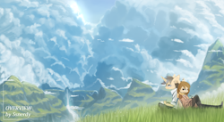 Size: 2560x1400   Tagged: safe, artist:ssnerdy, oc, oc only, unicorn, anthro, plantigrade anthro, clothes, duo, glasses, grass, headphones, mountain, pants, scarf, scenery, shirt, waterfall