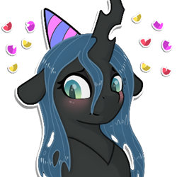 Size: 512x512   Tagged: safe, artist:llametsul, queen chrysalis, changeling, changeling queen, blushing, confetti, cute, cutealis, female, hat, looking away, mare, party hat, shy, simple background, solo, transparent background