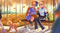 Size: 1776x984 | Tagged: safe, artist:卯卯七, applejack, rainbow dash, dog, human, poodle, afternoon, anime, appledash, autumn, backpack, basketball, bench, bichon frise, braid, breasts, busty applejack, clothes, falling leaves, female, freckles, headband, humanized, juice, juice box, lesbian, outdoors, pants, pigtails, polo shirt, ponytail, rainbow socks, scenery, scenery porn, shading, shadows, shipping, shoes, sitting, sneakers, socks, sports, striped socks, sweatpants, sweet dreams fuel, twin braids