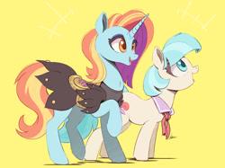Size: 1200x898   Tagged: safe, artist:ncmares, coco pommel, sassy saddles, earth pony, pony, unicorn, duo, duo female, female, simple background, yellow background