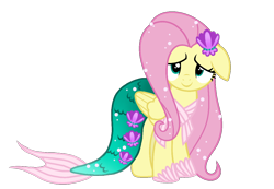 Size: 1132x785   Tagged: safe, artist:jvartes6112, fluttershy, pegasus, pony, clothes, costume, cute, dress, eyelashes, female, floppy ears, looking at you, mare, mermaid tail, nightmare night costume, shyabetes, simple background, smiling, solo, transparent background, vector, wings