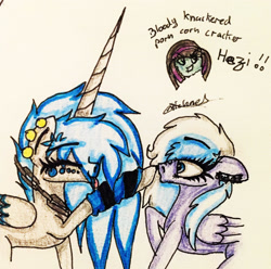 Size: 2241x2223 | Tagged: safe, artist:beamybutt, oc, oc only, oc:moonbeam, alicorn, pegasus, pony, :p, alicorn oc, boop, duo, ear piercing, eyelashes, eyes closed, female, horn, leg warmers, mare, pegasus oc, piercing, raised hoof, signature, tongue out, traditional art, wide eyes, wings
