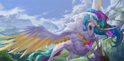 Size: 4500x2210   Tagged: safe, artist:makkah, artist:mmgrace, princess celestia, alicorn, pony, colored wings, colored wingtips, female, fluffy, high res, mare, solo, spread wings, wings