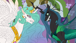 Size: 1280x731 | Tagged: safe, artist:dementra369, princess celestia, queen chrysalis, alicorn, changeling, changeling queen, pony, a canterlot wedding, alternate design, angry, crossed horns, crown, fangs, female, gritted teeth, horn, horns are touching, jewelry, regalia, scene interpretation, screenshot redraw, spread wings, teeth, wings