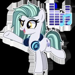Size: 1448x1448 | Tagged: safe, artist:skyfallfrost, oc, oc:dj silento, earth pony, pony, base used, female, headphones, mare, simple background, solo, transparent background
