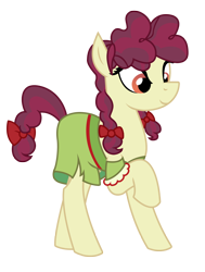 Size: 1864x2464 | Tagged: safe, artist:three uncle, hilly hooffield, earth pony, pony, the hooffields and mccolts, background pony, bow, clothes, female, hair bow, hooffield family, mare, pigtails, pose, simple background, solo, vector