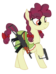 Size: 1864x2464 | Tagged: safe, alternate version, artist:three uncle, hilly hooffield, earth pony, pony, the hooffields and mccolts, aks-74u, background pony, bow, clothes, female, gun, hair bow, hooffield family, mare, pigtails, pose, simple background, solo, vector, weapon