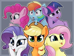 Size: 1884x1432 | Tagged: safe, artist:anti1mozg, applejack, fluttershy, pinkie pie, rainbow dash, rarity, twilight sparkle, alicorn, earth pony, pegasus, pony, unicorn, :p, bust, cheek squish, chest fluff, cute, dashabetes, diapinkes, ear fluff, expressions, female, floppy ears, grin, jackabetes, mane six, mare, open mouth, portrait, raribetes, shyabetes, smiling, squishy cheeks, starry eyes, tongue out, twiabetes, twilight sparkle (alicorn), varying degrees of want, wingding eyes