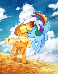 Size: 2362x2975 | Tagged: safe, artist:卯卯七, applejack, rainbow dash, earth pony, pegasus, pony, anniversary, appledash, detailed background, female, flying, grass, high res, kissing, lesbian, mare, shipping, signature, windswept mane, windswept tail