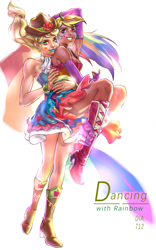 Size: 1431x2300 | Tagged: safe, artist:卯卯七, applejack, rainbow dash, human, appledash, bare shoulders, clothes, cutie mark, cutie mark on clothes, dancing, female, fingerless gloves, gloves, human coloration, humanized, legs, lesbian, realistic, shipping, sleeveless, strapless