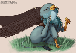 Size: 3508x2480 | Tagged: safe, artist:nire, gabby, griffon, behaving like a cat, catbird, claws, cute, eyes closed, female, gabbybetes, grass, griffons doing cat things, high res, mailbag, scratching, sitting, solo, spread wings, wings