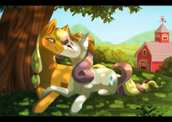 Size: 2048x1453 | Tagged: safe, artist:_ladybanshee_, applejack, rarity, earth pony, pony, unicorn, accessory swap, applejack's hat, commission, commissioner:raritybro, couple, cowboy hat, cute, female, grass, hat, intertwined tails, lesbian, nature, nuzzles, nuzzling, orchard, outdoors, rarijack, romantic, shipping, sweet apple acres, tail, tree