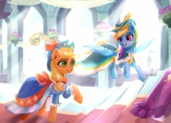 Size: 2779x1999 | Tagged: safe, artist:卯卯七, applejack, rainbow dash, earth pony, pegasus, pony, appledash, applejack also dresses in style, canterlot castle, clothes, coronation, coronation dress, detailed background, digital painting, dress, feather, female, flying, hat, high res, lesbian, mare, rainbow dash always dresses in style, shipping