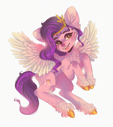 Size: 2004x2260 | Tagged: safe, artist:adishu, pipp petals, pegasus, pony, g5, adorapipp, cheek fluff, chest fluff, cute, ear fluff, feather, female, high res, hoof fluff, leg fluff, looking at you, mare, open mouth, raised hoof, simple background, solo, spread wings, unshorn fetlocks, white background, wings