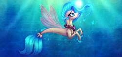 Size: 3985x1850 | Tagged: safe, artist:kimmyartmlp, princess skystar, seapony (g4), my little pony: the movie, bioluminescent, blue mane, blue tail, bubble, crepuscular rays, dorsal fin, female, fin wings, fins, fish tail, flower, flower in hair, flowing mane, freckles, glow, high res, jewelry, looking up, necklace, ocean, pearl necklace, redraw, solo, sunlight, swimming, tail, underwater, water, wings