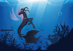 Size: 1280x897 | Tagged: safe, artist:amjcreations, oc, oc only, fish, seapony (g4), bubble, coral, crepuscular rays, fin wings, fish tail, ocean, seaweed, solo, sunlight, underwater, water, wings
