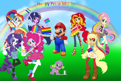 Size: 3000x2000   Tagged: safe, artist:magical-mama, artist:sugar-loop, artist:user15432, applejack, fluttershy, pinkie pie, rainbow dash, rarity, spike, sunset shimmer, twilight sparkle, alicorn, dog, human, equestria girls, asexual, asexual pride flag, asexuality, barely eqg related, bisexual, bisexual pride flag, cowboy hat, crossover, female, flag, flag pole, flower, flower in hair, gay pride, gay pride flag, genderqueer, genderqueer pride flag, hand on hip, hat, holiday, humane five, humane seven, humane six, intersex, intersex pride flag, lesbian, lesbian pride flag, looking at you, male, maridash, mario, mariopie, marioshy, multicolored hair, nintendo, pansexual, pansexual pride flag, pegasus wings, polyamory, polyamory pride flag, ponied up, pride, pride flag, pride month, rainbow, rainbow flag, rainbow hair, rose, spike the dog, super mario bros., twilight sparkle (alicorn), wings