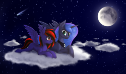 Size: 3840x2259   Tagged: safe, artist:colourwave, princess luna, oc, oc:metal sky, alicorn, pegasus, pony, blank flank, cloud, comet, commission, cute, duo, ethereal mane, female, high res, horn, jewelry, lying down, lying on a cloud, mare, moon, night, night sky, on a cloud, pegasus oc, prone, regalia, sky, starry mane, starry night, stars, wings