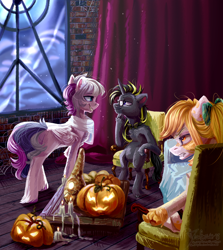 Size: 2600x2920   Tagged: safe, artist:teaflower300, oc, oc only, pegasus, pony, unicorn, bowtie, candle, chair, glasses, grin, halloween, holiday, jack-o-lantern, pumpkin, sitting, smiling
