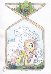 Size: 1280x1864 | Tagged: safe, artist:nel-fie, angel bunny, fluttershy, bird, butterfly, pegasus, pony, rabbit, squirrel, animal, bush, cloud, duo, female, folded wings, looking away, mare, modern art, nouveau, outdoors, profile, raised hoof, raised leg, smiling, traditional art, tree, walking, watercolor painting, wings