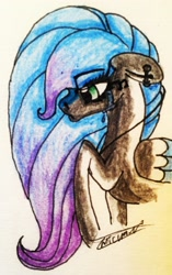 Size: 1743x2780 | Tagged: safe, artist:beamybutt, oc, oc only, oc:shadow heart, pegasus, pony, bust, crying, ear piercing, eyelashes, pegasus oc, piercing, raised hoof, signature, solo, traditional art, two toned wings, wings
