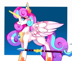Size: 1080x915   Tagged: safe, artist:tessa_key_, princess flurry heart, alicorn, pony, abstract background, crown, female, glowing horn, hoof shoes, horn, jewelry, magic, mare, older, older flurry heart, peytral, regalia, scepter, smiling, solo, telekinesis, tiara