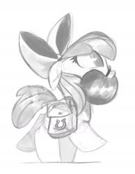 Size: 1280x1646 | Tagged: safe, artist:talonsofwater, apple bloom, adorabloom, apple, bag, cute, female, filly, food, herbivore, saddle bag, sketch, solo