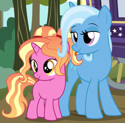 Size: 1906x1875   Tagged: safe, artist:badumsquish, derpibooru exclusive, luster dawn, trixie, pony, unicorn, don't talk to me or my son ever again, duo, duo female, female, filly, filly luster dawn, forest, horses doing horse things, lidded eyes, like mother like daughter, like parent like child, luster dawn is trixie's daughter, mare, mother and child, mother and daughter, parent and child, pigtails, ponified animal photo, show accurate, smug, taunting, teasing, tongue out, tree, trixie's wagon