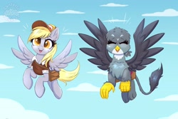 Size: 4096x2731 | Tagged: safe, artist:confetticakez, derpy hooves, gabby, griffon, pegasus, pony, atg 2021, bag, clothes, duo, duo female, eyes closed, female, flying, hat, high res, mailbag, mailmare, mare, newbie artist training grounds, open mouth, open smile, saddle bag, shirt, smiling