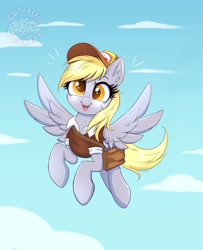 Size: 3253x4000 | Tagged: safe, alternate version, artist:confetticakez, derpy hooves, pegasus, pony, bag, clothes, cute, derpabetes, female, flying, hat, high res, mailbag, mailmare, mare, newbie artist training grounds, open mouth, open smile, saddle bag, shirt, smiling, solo