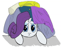Size: 1600x1271 | Tagged: safe, artist:pegapone, rarity, pony, unicorn, clothes, eyeshadow, frown, horn, makeup, pouting, sad, solo, stressed
